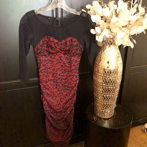Guess Sexy Cheetah Print & Mesh Dress